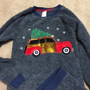 Blue/Gray Soft Fuzzy Pajamas with Red Truck